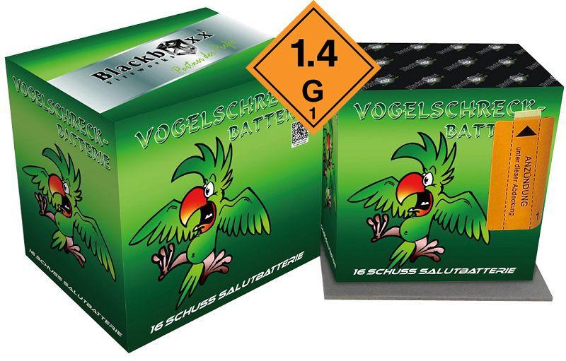 Vogelschreck-Batterie, 16 Schuss, 6er Käfig