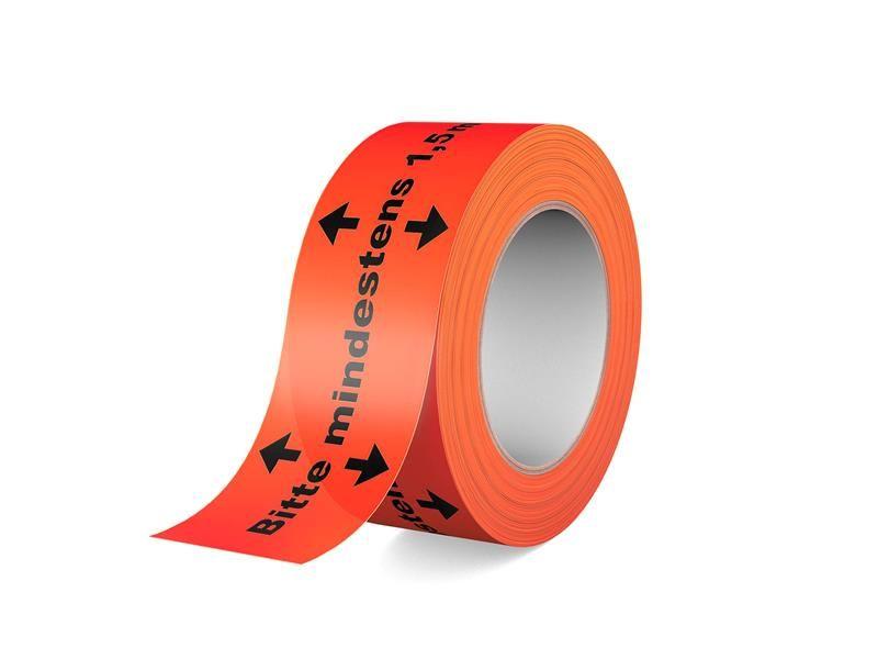 Warnband - Klebeband - Bitte mindestens 1,5m Abstand halten!